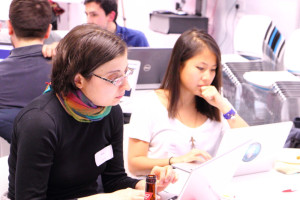 Our two volunteers Anna and Sewei working out how to make our site more accessible.