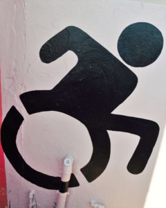 Active Wheelchair Symbol painted with Crossing Countries at Mason Lincoln Special School Umlazi Township, Durban SA