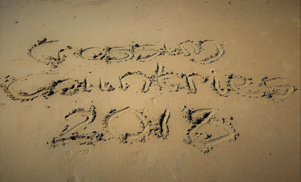 1. Crossing Countries 2018 written in the sand