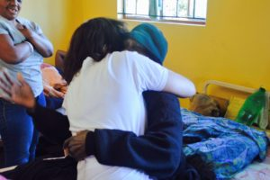 Jean happy to be able to cuddle the Gogo she met last year at Ikwhezi